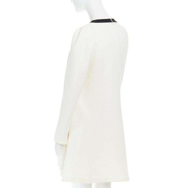 GIAMBATTISTA VALLI cream crepe floral lace window detail puff sleeve dress IT42 For Sale 2
