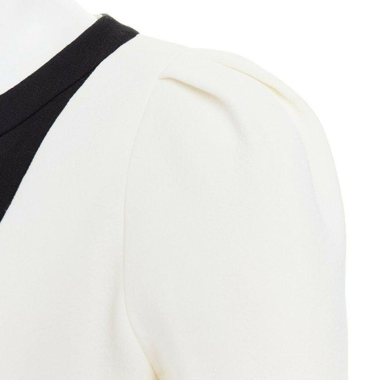 GIAMBATTISTA VALLI cream crepe floral lace window detail puff sleeve dress IT42 For Sale 3