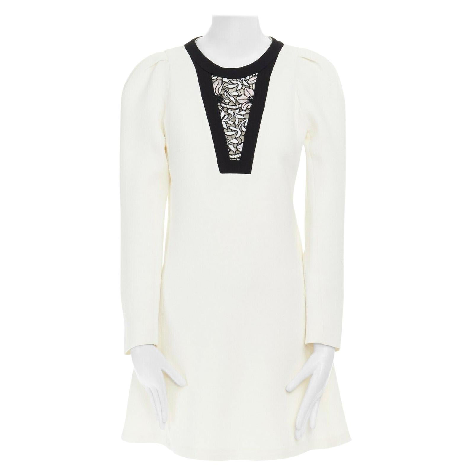 GIAMBATTISTA VALLI cream crepe floral lace window detail puff sleeve dress IT42