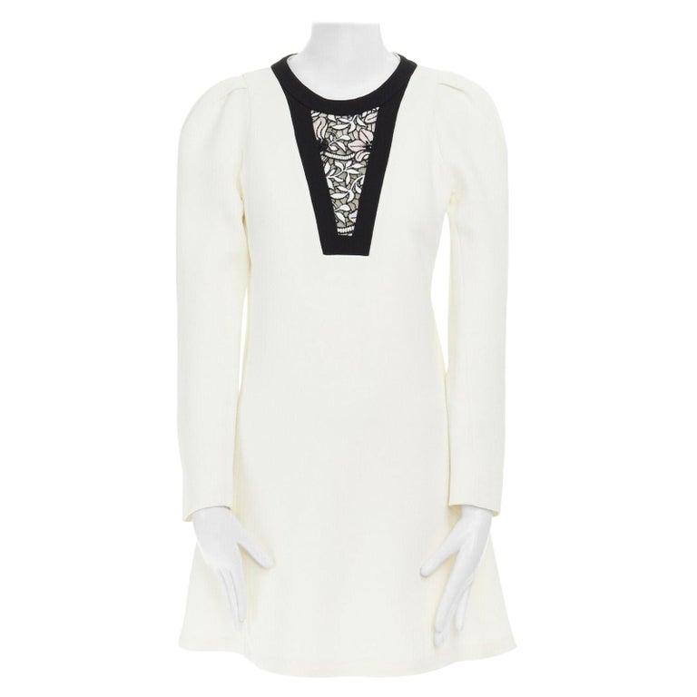 GIAMBATTISTA VALLI cream crepe floral lace window detail puff sleeve dress IT42 For Sale