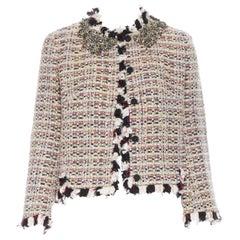 GIAMBATTISTA VALLI cream red sequins tweed crystal embellished collar jacket XXS