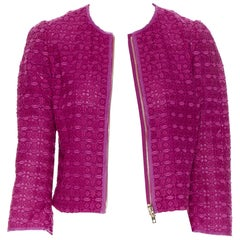 GIAMBATTISTA VALLI fuschia pink embroidery anglais lace 3/4 sleeve jacket XXS