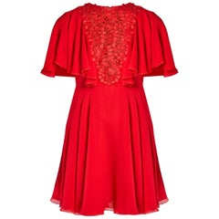 Giambattista Valli Georgette Lace-Insert Dress