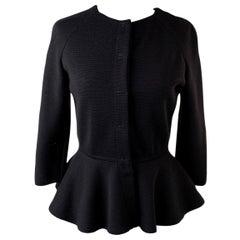 Giambattista Valli Giambattista Valli Black Wool Cardigan Jacket Peplum Hem Size