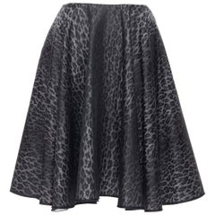 "GIAMBATTISTA VALLI grey leopard spot print flared skirt XXS 24"""