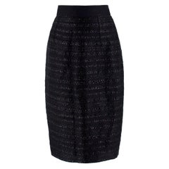 Giambattista Valli High-waisted Black Tweed Skirt 44