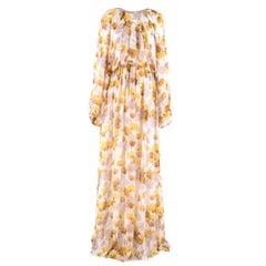 Giambattista Valli Jaune Floral Silk Gown 44