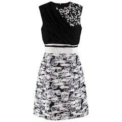 Giambattista Valli Monochrome Embellished Sleeveless Skater Dress - Size US 8