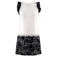 Giambattista Valli Monochrome Floral Embroidered Shift Dress XXS/38