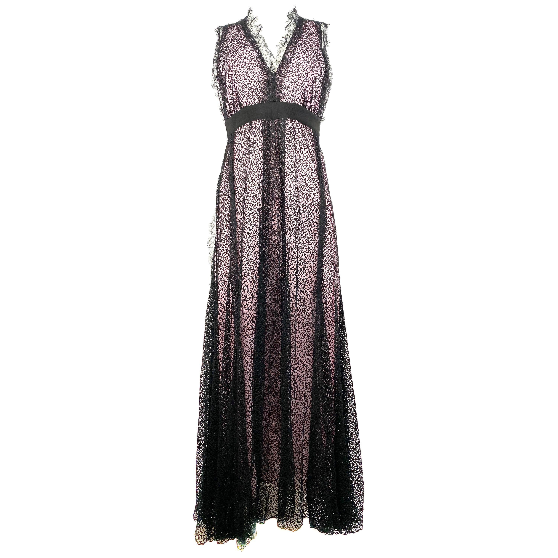 Giambattista Valli Paris Pink and Black Sleeveless Maxi Dress Size 40