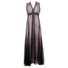 Giambattista Valli Paris Pink and Black Sleeveless Maxi Dress Size 40