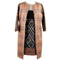 Giambattista Valli Patterned Panelled Shift Dress and Coat Suit Size S