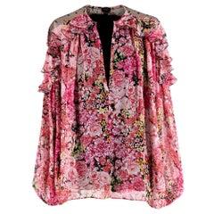 Giambattista Valli Pink Silk-Chiffon Floral Blouse - Size US 4