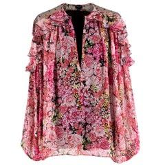Giambattista Valli Pink Silk-Chiffon Floral Blouse US4