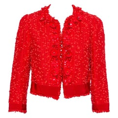 Giambattista Valli Red Floral Embellished Tweed Open Front Shrug M