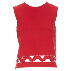 GIAMBATTISTA VALLI red viscose knit sheer jacquard hem trim vest  top XXS