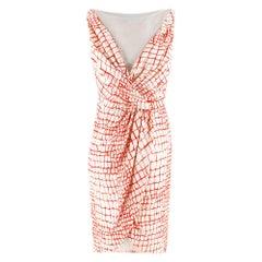 Giambattista Valli Red & White Draped Sheer Panel Sleeveless Dress It 44
