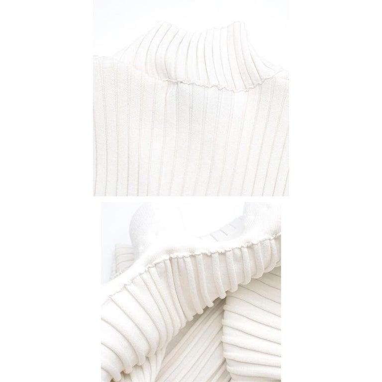 Giambattista Valli Ribbed Lace Sleeve White Dress IT 44 For Sale 5