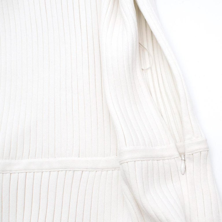 Giambattista Valli Ribbed Lace Sleeve White Dress IT 44 In Excellent Condition For Sale In London, GB