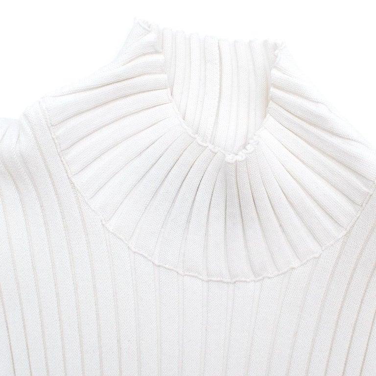 Women's Giambattista Valli Ribbed Lace Sleeve White Dress IT 44 For Sale