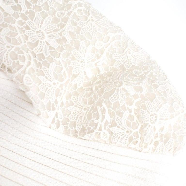 Giambattista Valli Ribbed Lace Sleeve White Dress IT 44 For Sale 1
