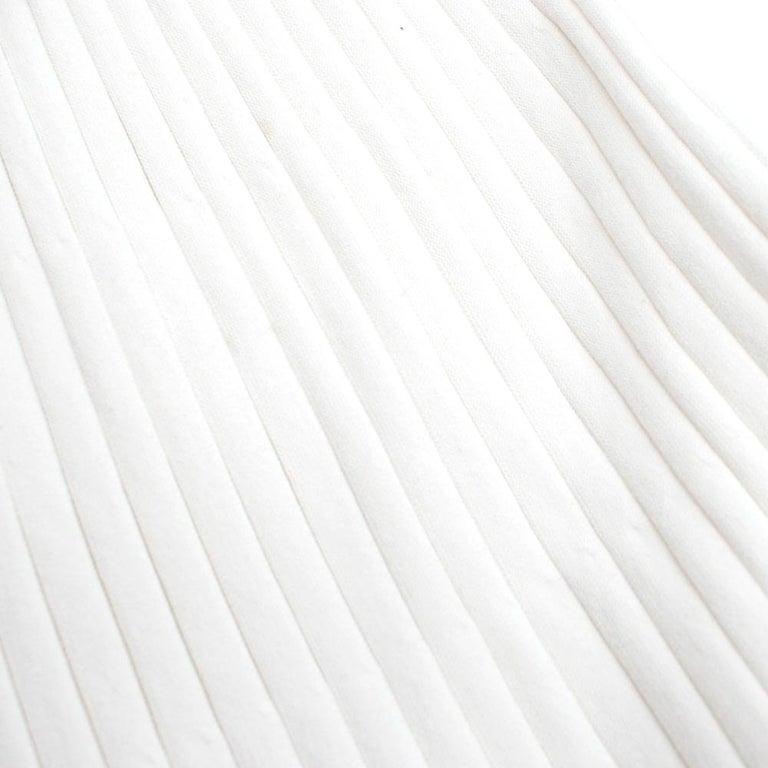 Giambattista Valli Ribbed Lace Sleeve White Dress IT 44 For Sale 3