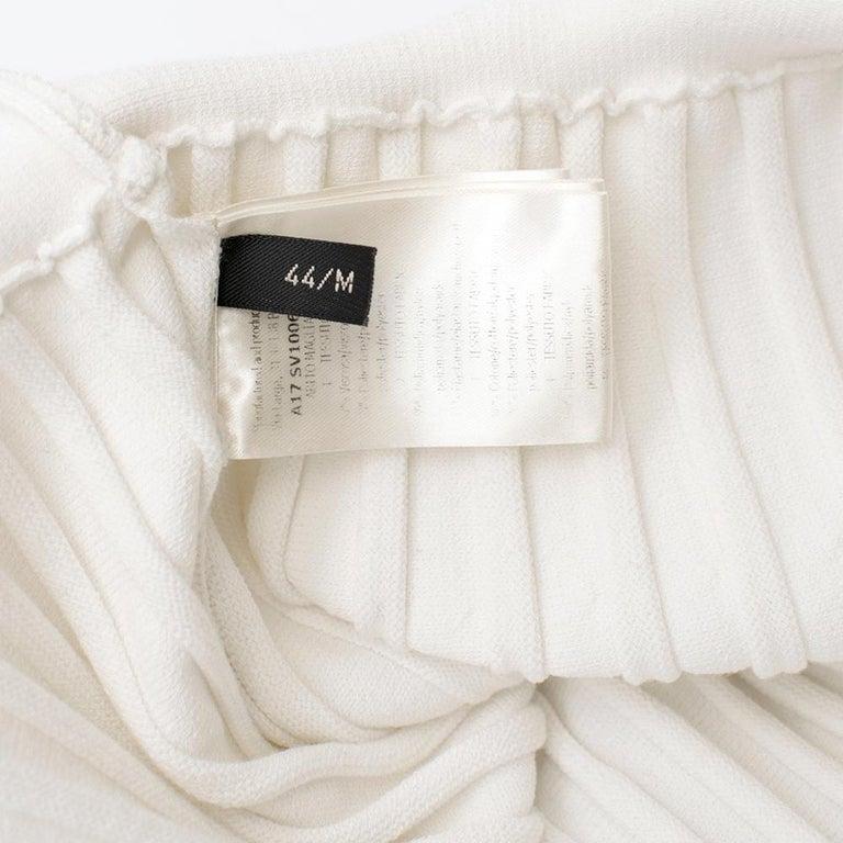 Giambattista Valli Ribbed Lace Sleeve White Dress IT 44 For Sale 4