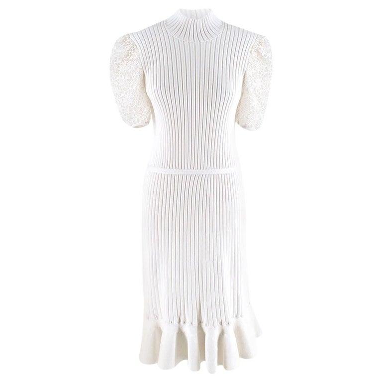Giambattista Valli Ribbed Lace Sleeve White Dress IT 44 For Sale