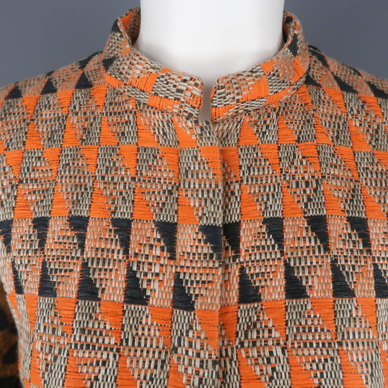 Giambattista Valli Orange Leopard Print Sleeve Beaded Feather Trim