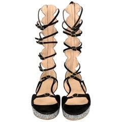 GIAMBATTISTA VALLI S/S 2016 Size 8 Black Suede Glitter Gladiator Sandals