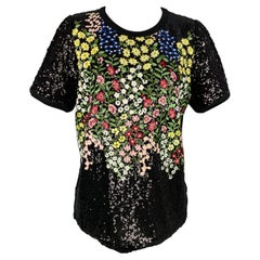 GIAMBATTISTA VALLI Size 12 Black & Multi-Color Sequined Jersey Dress Top