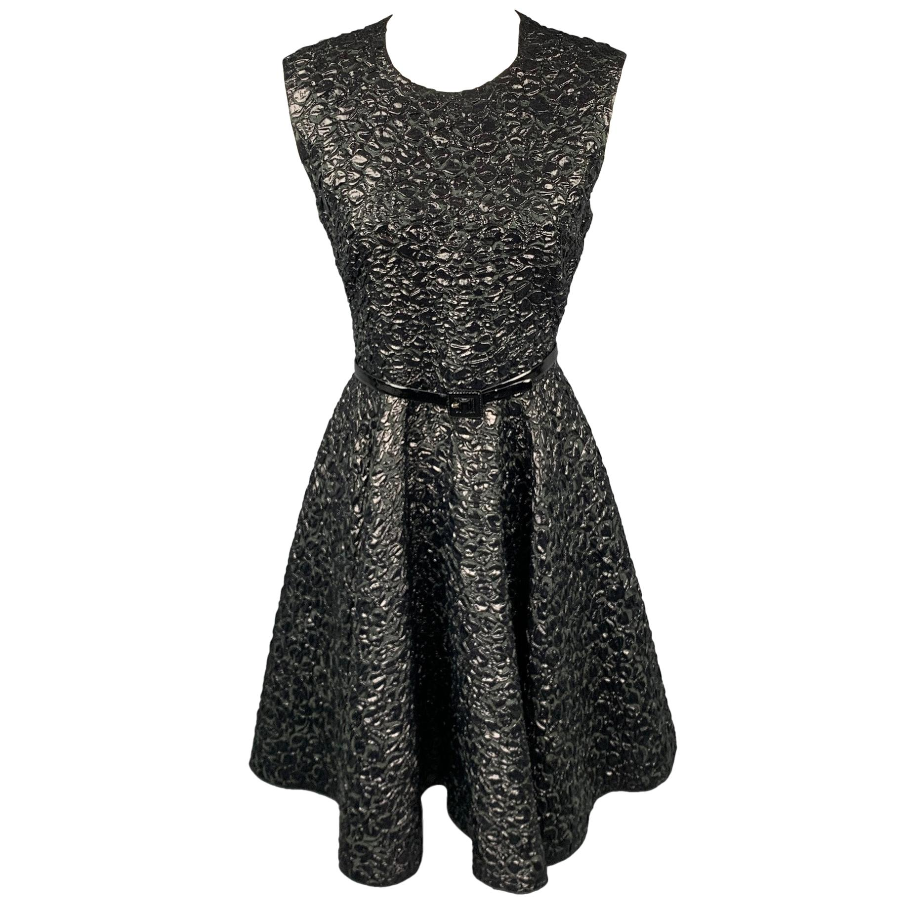 GIAMBATTISTA VALLI Size 6 Black Brocade Polyamide Blend A-Line Dress