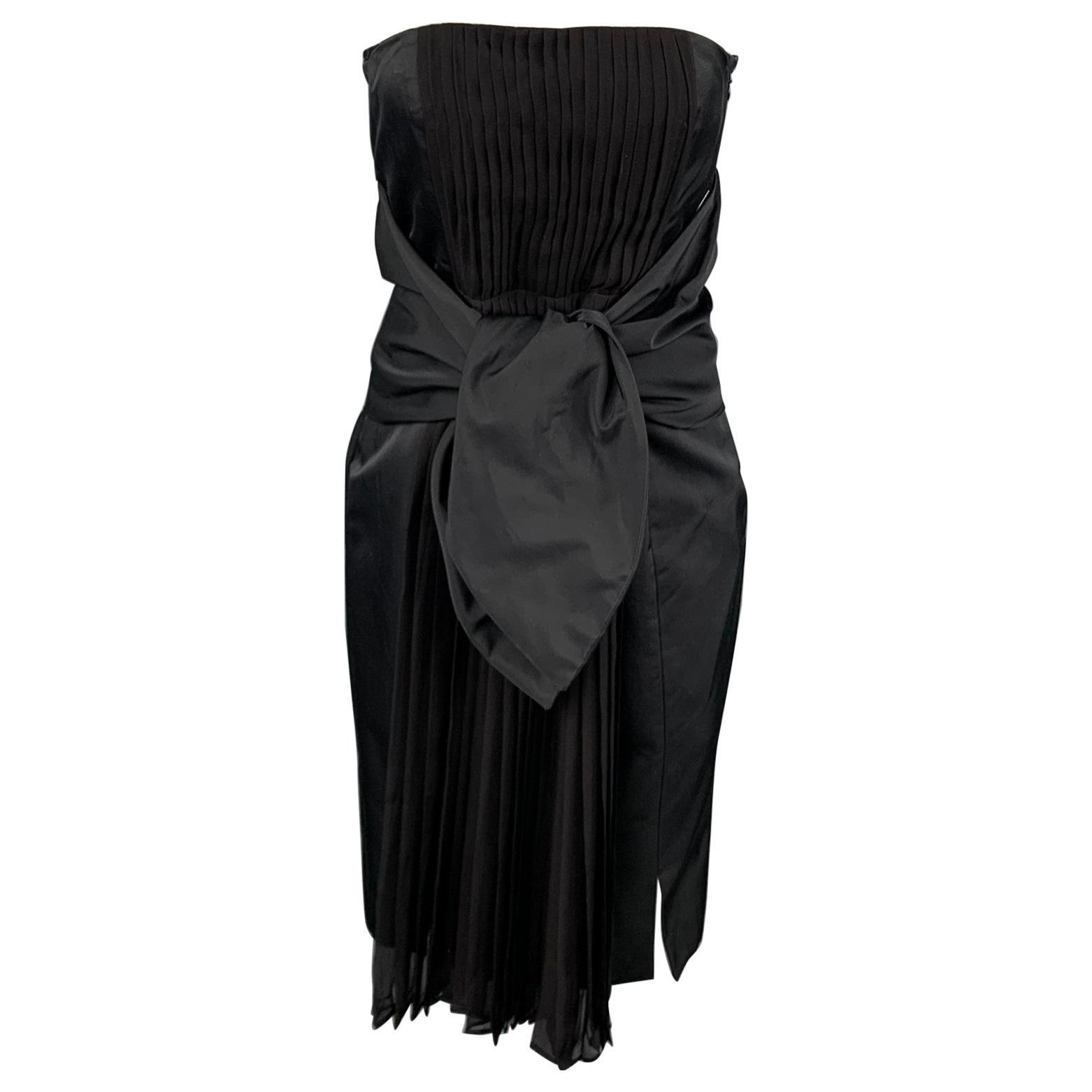 GIAMBATTISTA VALLI Size 6 Black Pleated Cotton / Silk Wide Waist Tie Dress