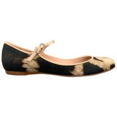 GIAMBATTISTA VALLI Size 7.5 Beige & Brown Leopard Print Maryjane Flats