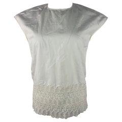 Giambattista Valli White Cotton and Lace Top Blouse, Size 42 / S
