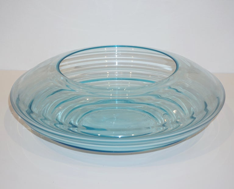 Giampaolo Ghisetti 1970s Vintage Round Aquamarine Blue Murano Glass Ribbed Bowl For Sale 3