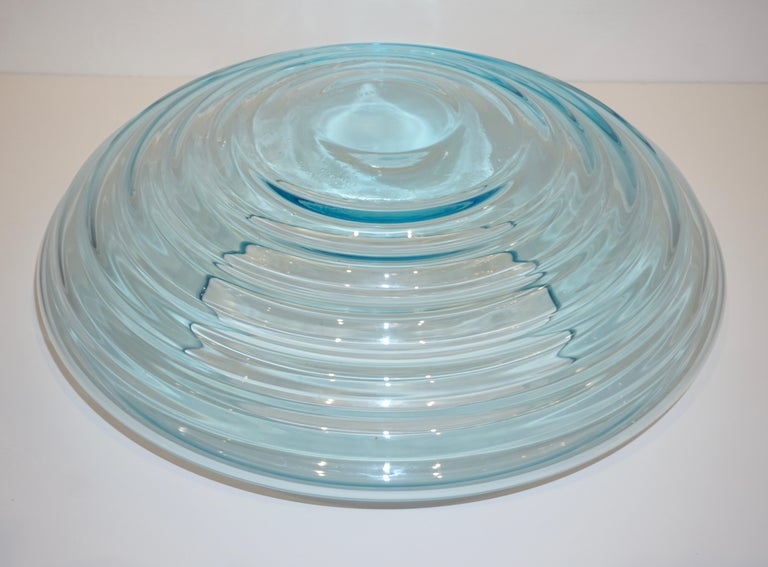 Hand-Crafted Giampaolo Ghisetti 1970s Vintage Round Aquamarine Blue Murano Glass Ribbed Bowl For Sale