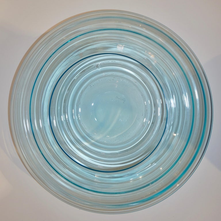 Giampaolo Ghisetti 1970s Vintage Round Aquamarine Blue Murano Glass Ribbed Bowl In Good Condition For Sale In New York, NY