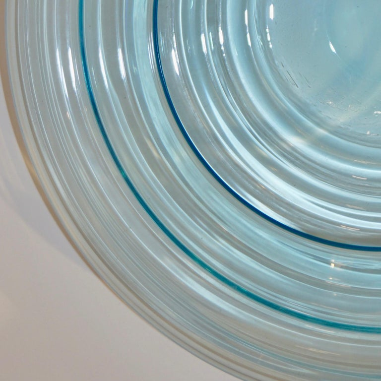 Giampaolo Ghisetti 1970s Vintage Round Aquamarine Blue Murano Glass Ribbed Bowl For Sale 1