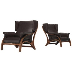 Giampiero Vitelli Pair of Wingback Chairs in Leather Upholstery