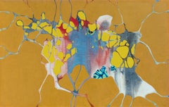 Abduction of Europa - Abstract Surrealist Oil Painting in Yellow and Ochre Color