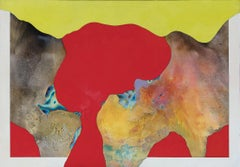 Enigma in Red and Yellow - Abstract Surrealist Landscape Painting in Red
