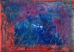 Fragmented Moon Dream - Abstract Blue and Red Oil Painting with Paper Collage