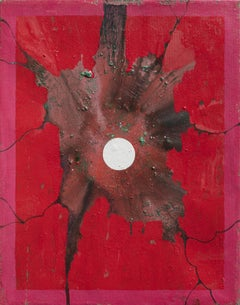Full Moon - Abstract Oil Painting in Red and Brown