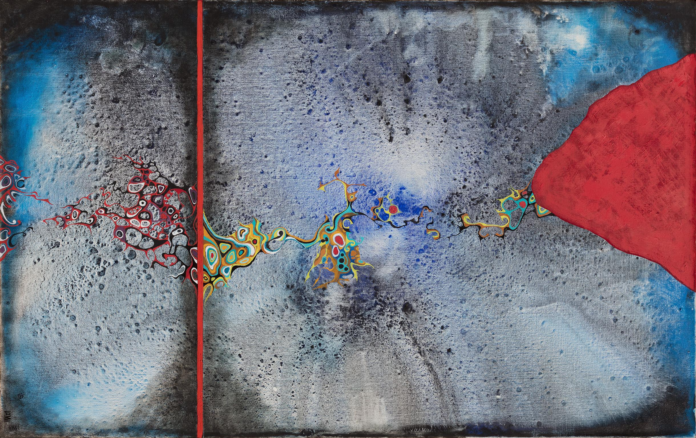 Osmosis - Large Abstract Cosmic Blue Painting