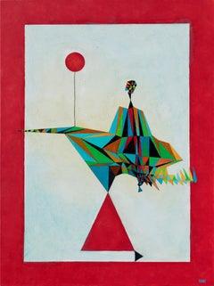 Sophisticated Lady on a Walk - Figurative Surrealist Geometric Painting