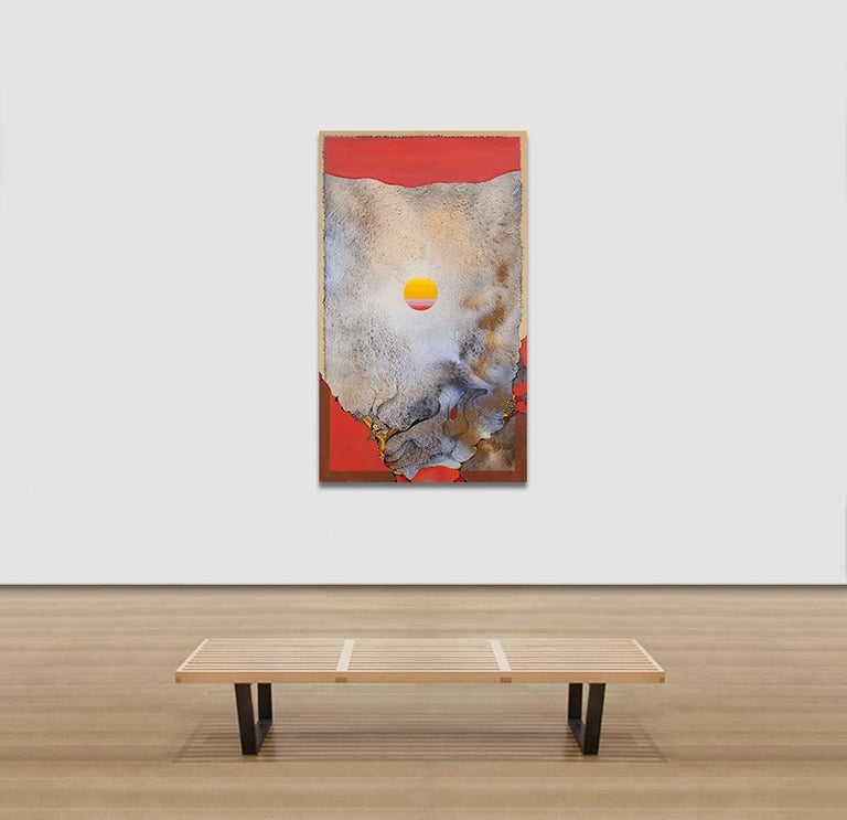 Springtime Dawn - Surrealist Landscape Oil Painting with Orange and Yellow For Sale 3