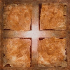Squares Hiding Squares - Square Abstract Geometric Oil Painting with Cross