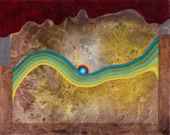 Sunset over the Big Wave - Surrealist Landscape Painting in Yellow