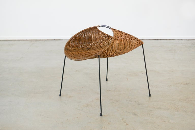 Wicker and iron magazine basket designed by Gian Franco Legler